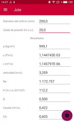Cálculo mecánico de discos de orificio. Ejemplo 2.