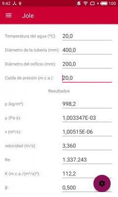Jole. Cálculo de placas de orificio. Cálculo del caudal.