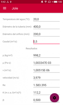 Jole. Cálculo de placas de orificio. Cálculo de la pérdida de carga.